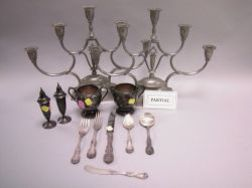 Sixty-five Piece Reed & Barton Sterling Silver Flatware Set, a Pair of Sterling Casters, Plated Creamer and Sugar and a Pair of Just Pe