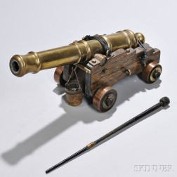 Miniature Cast Brass Cannon on Wood Carriage