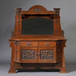 Arts & Crafts Sideboard with Mirror