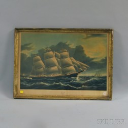 After Nathaniel Currier, publisher (American, 1813-1888)      Clipper Ship Dreadnought Off Tuskar Light...