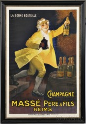 Masse Pere & Fils Champagne Advertising Poster, designed by M. Auzolle, printed by Maus, Delhalle & Urban, Paris, France, c. 1920, ch