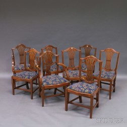 Eight Irving & Casson/A.H. Davenport Co Hepplewhite-style Mahogany Dining Chairs