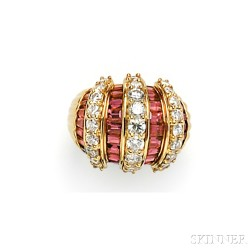 18kt Gold, Ruby, and Diamond Dome Ring, Sabbadini