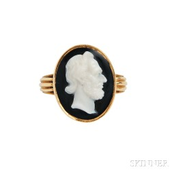 Antique 18kt Gold and Hardstone Cameo Ring