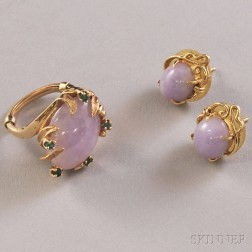 14kt Gold and Lavender Jade Earrings and Ring