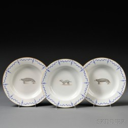 Three Chinese Export Porcelain Quadruped Decorated Soup Plates