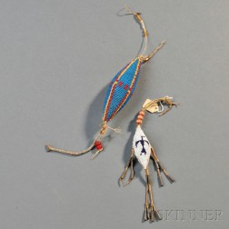 Two Plains Beaded Hide Umbilical Fetishes