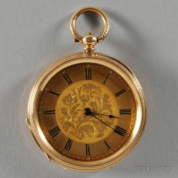 Lady's 18kt Gold Open-face Watch