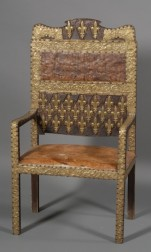 """French Renaissance Style Repousse Brass-mounted and Leather """"Great Chair"""""""
