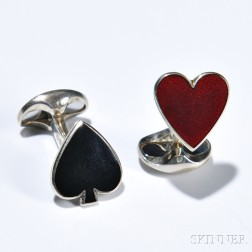 Heart and Spade Cuff Links, Deakin & Francis, sterling silver, one with a black enamel spade, the other with a red enamel heart, signed
