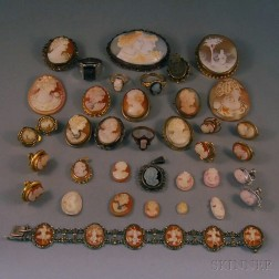 Large Group of Cameo Jewelry