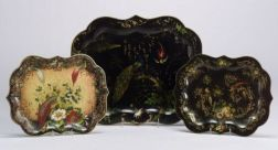Three Victorian Painted Tole Trays