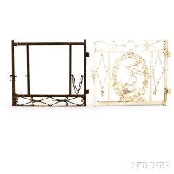 Two Painted Cast Iron Gate Sections