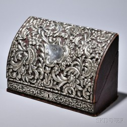 Victorian Sterling Silver-mounted Letter Box, London, 1890-91, William Comyns, maker, the leather-clad box with silver-mounted floral s