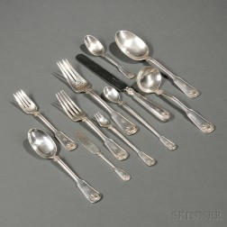 Tiffany & Co. Shell and Thread   Pattern Sterling Silver Flatware Service