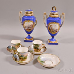 Pair of Meissen-style Urns and Three French Cups and Saucers