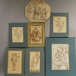 School of Luca Cambiaso (Italian, 1527-1585)      Seven Unframed Ink Drawings of Mythological and Christian Subjects.