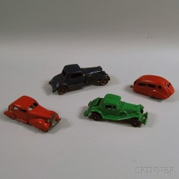 Four Toy Metal Vehicles