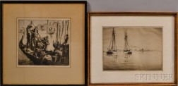 Anglo/American School, 19th/20th Century      Two Etchings of Venice:   Men on Boat