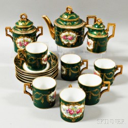 Sevres-style Floral-decorated Porcelain Tea Service for Six