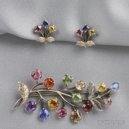 Silver Gem-set Brooch and Earclips