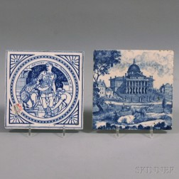 Two Blue and White Minton Tiles