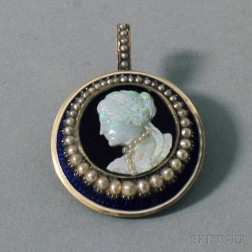 10kt Gold, Carved Opal, Seed Pearl, and Enamel Cameo Portrait Pendant