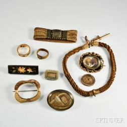 Group of Victorian Hair Memorial Jewelry