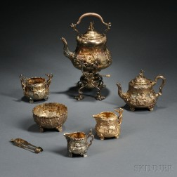 Assembled Six-piece Victorian Gilded Sterling Silver Tea Service