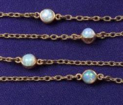 Antique 14kt Gold and Opal Watch Chain, Carter Howe & Co.