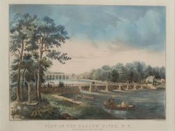 Nathaniel, Currier, publisher (America, 1813-1888)    View on the Harlem River, N.Y.:  The Highbridge in the Distance.