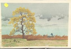Hasui: Rain on the Lake-Shore of Matsue