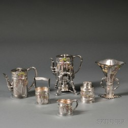 Six-piece Japanese Enameled Silver Tea Service