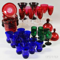 Large Group of Cobalt, Emerald, Amethyst, and Cranberry Glass Tableware Items.     Estimate $200-300