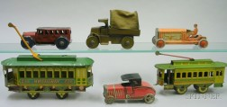 Six Lithographed Tin Vehicles