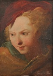 French School, 19th Century      Head of a Woman in a Red Cap