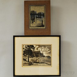 Two Woodcut Prints:      Julius J. Lankes (American, 1884-1960), Sunday Afternoon