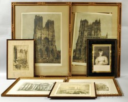 Two Framed Piranesi Engravings and Five Others