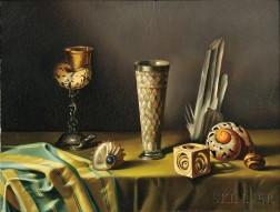 Fernand Renard (French, b. 1912)      Still Life with Shells and Goblets