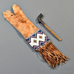 Blackfoot Beaded Hide Pipe Bag and Pipe