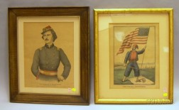 Two Framed Hand-colored Military Lithographs