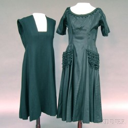 Two Lady's Black Wool and Silk Dresses