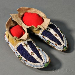 Cheyenne Beaded Hide Youth's Moccasins