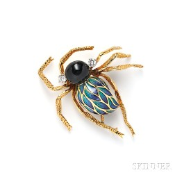 18kt Gold, Enamel, Onyx, and Diamond Spider Brooch