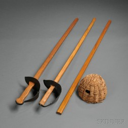 Group of Wooden Model 1913-style Cavalry Training Swords