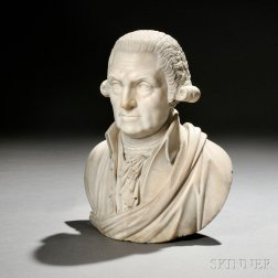 American School, 19th Century       White Marble Bust of George Washington