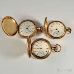 Three Elgin Lady's Gold-filled Hunter Case Watches