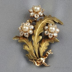 Antique 18kt Gold, Pearl, and Diamond Flower Brooch