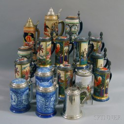 Seventeen Earthenware Steins