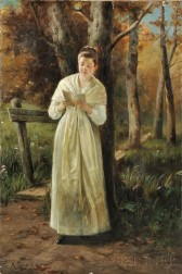 August Laux (American, 1847-1921)      Woman Reading on a Woodland Path